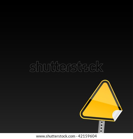 Blank yellow road warning sign on black background with curved corner - stock vector