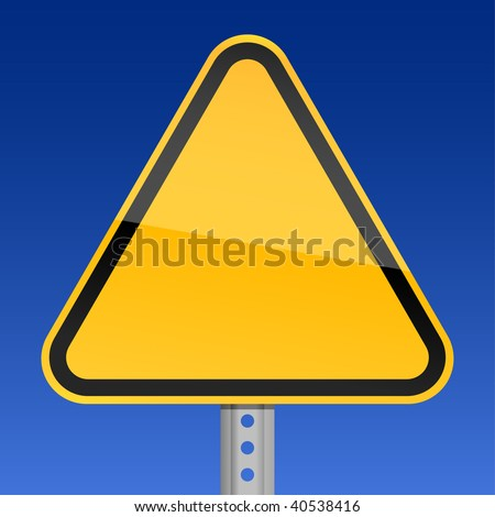Blank yellow road warning sign on sky background - stock vector