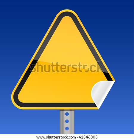 Blank yellow road warning sign with curved corner - stock vector