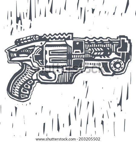 Blaster toy gun drawing - stock vector