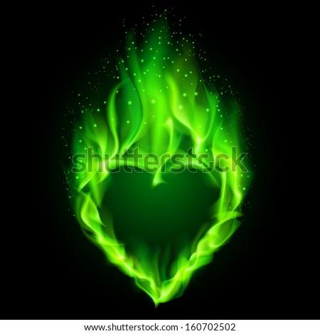 Blazing green heart. Illustration on black background. - stock vector