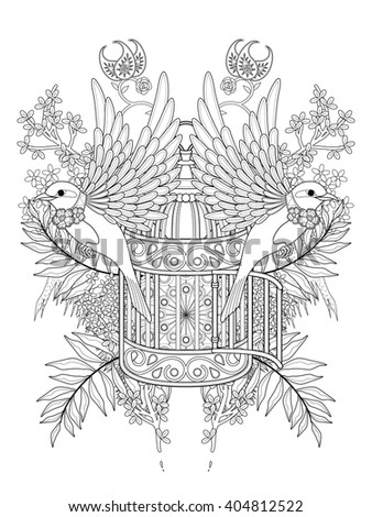 blessing bird adult coloring page with floral elements - stock vector