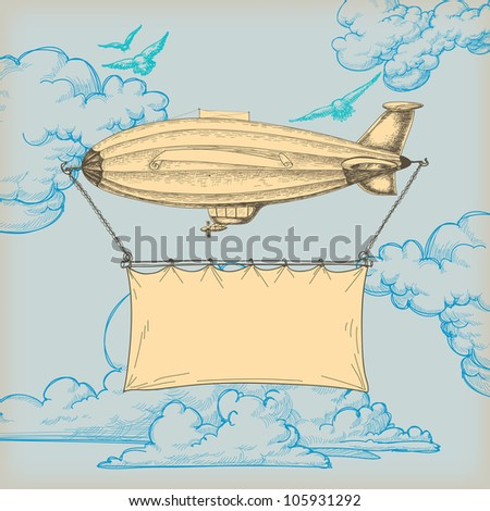 Blimp flying banner for text over blue sky retro background - stock vector