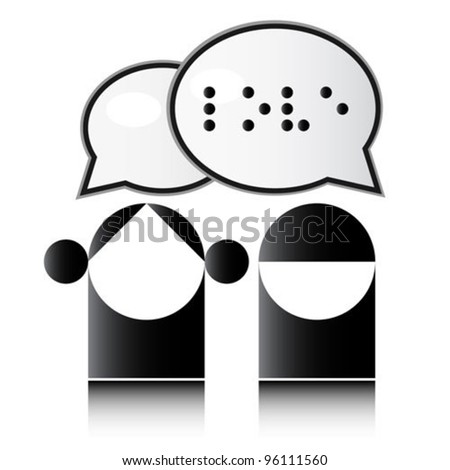 Blind man. Braille alphabet. - stock vector