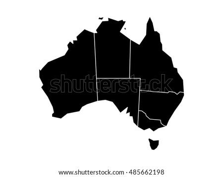 blind map of australia divided into states and territories black flat silhouette map on white