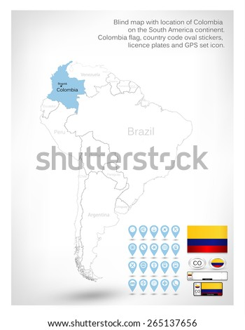 Blind map with location of Colombia on the South America continent.Colombia flag, country code oval stickers, licence plates and GPS set icon. - stock vector