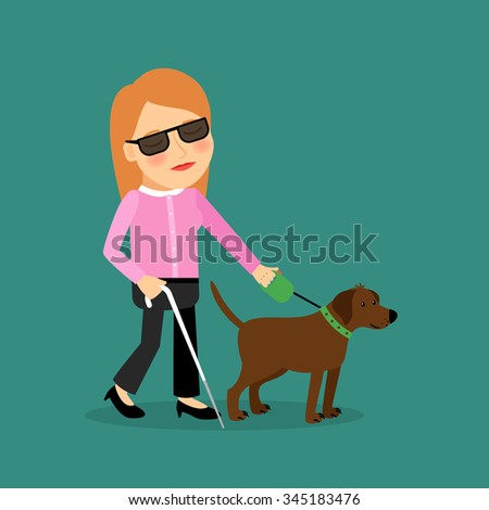 Blind woman with a guide dog walking together. Vector illlustration.  - stock vector