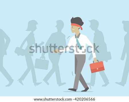 Blindfolded businessman walking in the crowd. Vector illustration in business concept, character flat design.  - stock vector