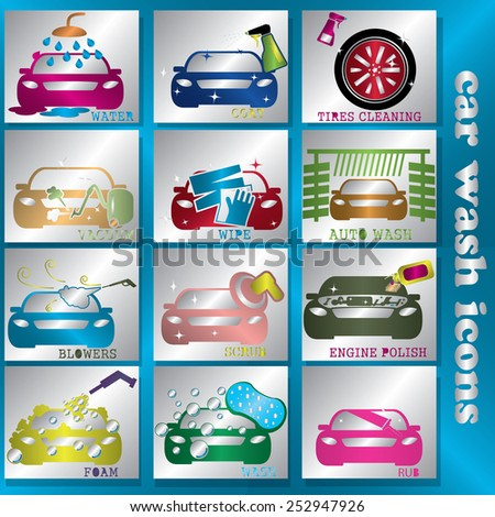 blink color car wash icon in silver square - stock vector