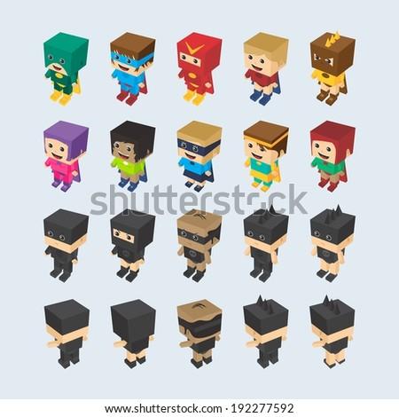 block cartoon isometric character - stock vector