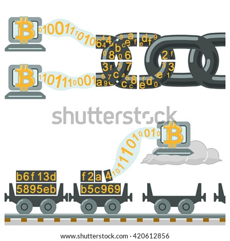 Blockchain technology as chain or railway wagons - stock vector