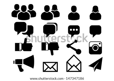 Blog and Social Media icons - stock vector