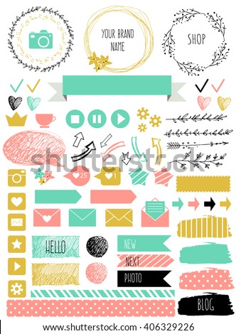 Blog design set with ribbons, stickers, logos, frames, borders and bottoms. Golden, blue, pink colors. Design elements for website, journal - stock vector