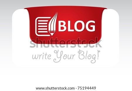 Blog header template with text and icon - stock vector