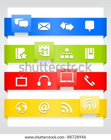 Blog Icons – Ribbon Series - stock vector