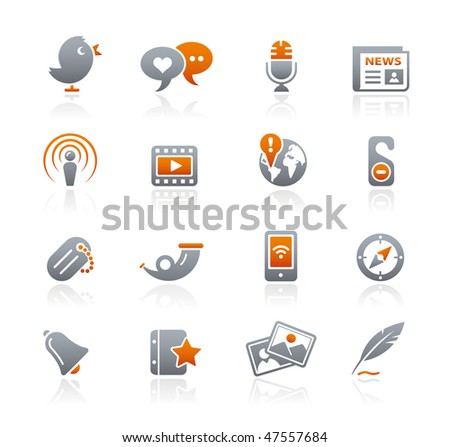 Blog & New Media Web Icons // Graphite Series - stock vector