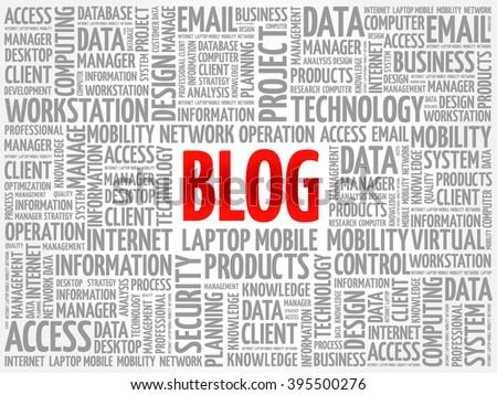 Blog word cloud concept - stock vector
