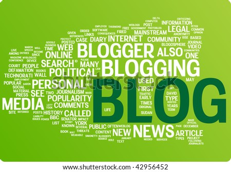 Blog word cloud illustration. Graphic tag collection - stock vector