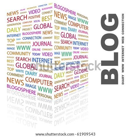 BLOG. Word collage on white background. Illustration with different association terms. - stock vector