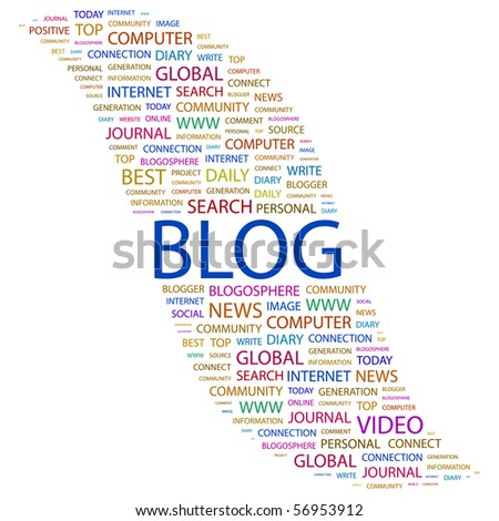 BLOG. Word collage on white background. Vector illustration. - stock vector