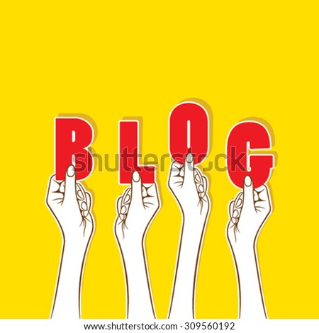blog word hold in hand concept design vector - stock vector