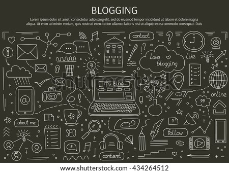 Blogging and social media hand drawn elements. Vector horizontal banner template. Doodle background. For banners and posters, cards, brochures, souvenirs, invitations, website designs. - stock vector