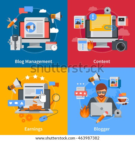 Blogging flat 2x2 icons set with blogger blog management content and earrings on colorful backgrounds isolated vector illustration - stock vector