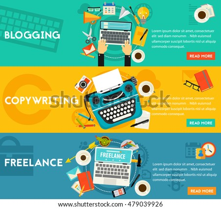 Blogging, Freelance and Copywriting Concept Banners. Horizontal composition, vector illustrations