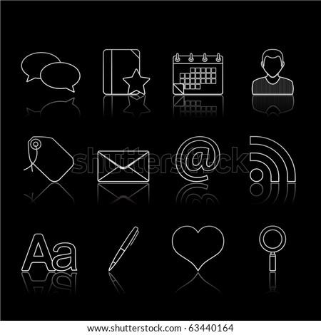 Blogging icon set 4 � Strokes Black Series.  Vector EPS 8 format, easy to edit. - stock vector
