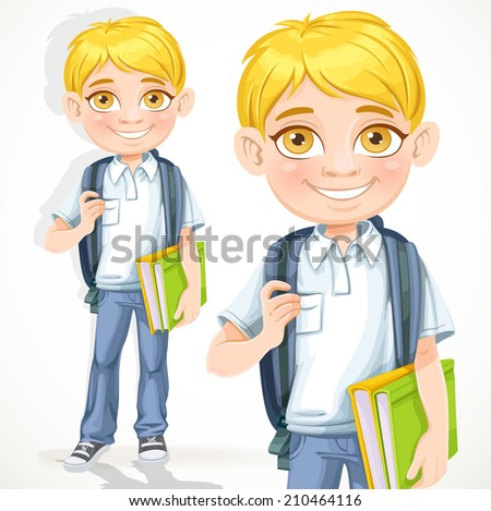 Blond cute boy with textbook isolated on a white background - stock vector