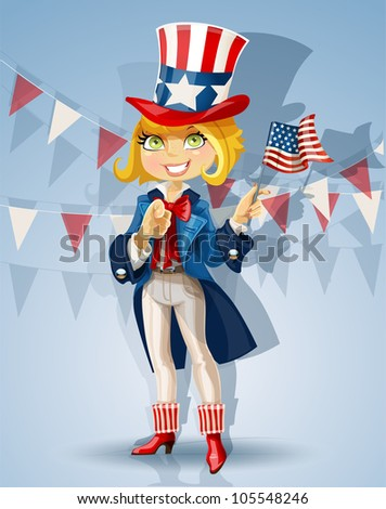 Blond girl in a suit of Uncle Sam Celebrates 4th of July - stock vector