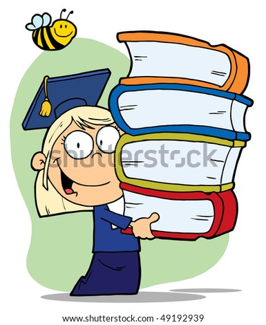 Blond Graduate School Girl Carrying A Stack Of Books