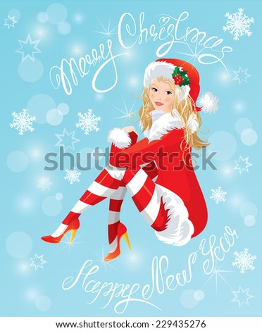Blond Pin Up Christmas Girl wearing Santa Claus suit and stockings on blue background with snowflakes. Handwritten text Merry Christmas and happy New Year. - stock vector
