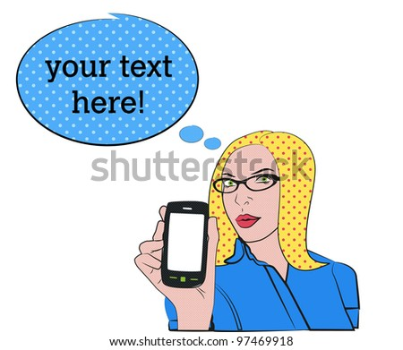 Blond woman with cell phone in pop art style - stock vector