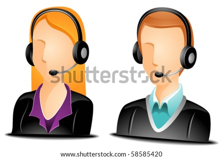 Blonde call center agent avatars in business suit with headset on - Vector - stock vector