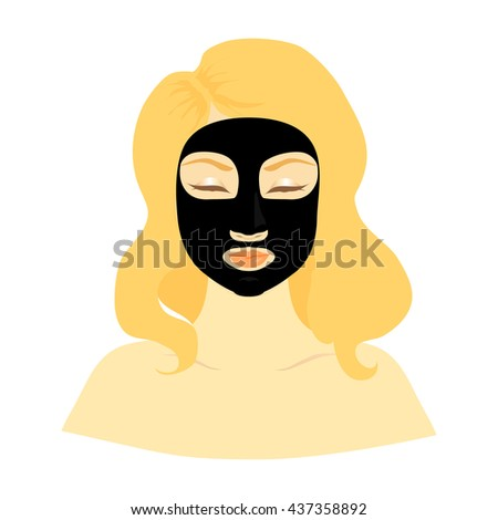 Blonde woman with black cleans mask on her face. Clean skin, cosmetics concept, fresh healthy face, beautiful model. Graphic design element for spa or beauty salon poster - stock vector