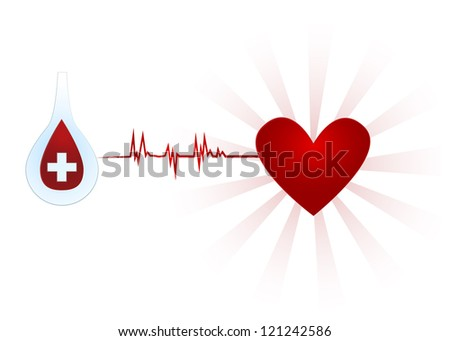 Blood donation/Blood drop in glass taste tube with cross, esg to heart with burst behind it - stock vector