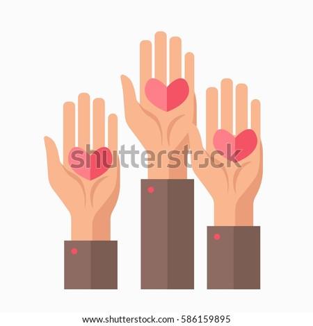 Blood Donation Charity Symbol Logo Hands