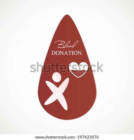 Blood donation concept icon for blood transfusion station or hospital sign - stock vector