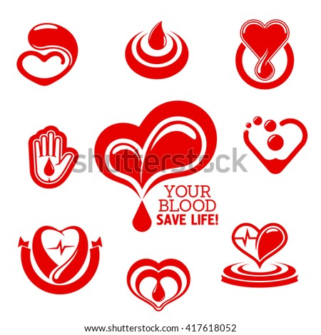 Blood Donation Conceptual Symbols Bright Red Stock Vector 417618052