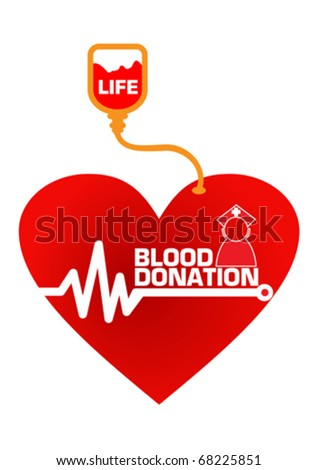 Blood Donation Save Life Concept Illustration in Vector - stock vector