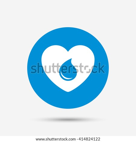 Blood donation sign icon. Medical donation. Heart with blood drop. Blue circle button with icon. Vector - stock vector
