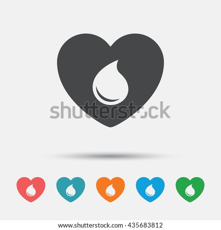 Blood donation sign icon. Medical donation. Heart with blood drop. Graphic element on white background. Colour clean flat blood icons. Vector - stock vector