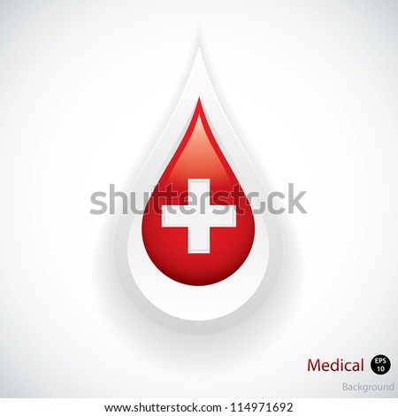 Blood drop isolated on white background.Medical vector - stock vector