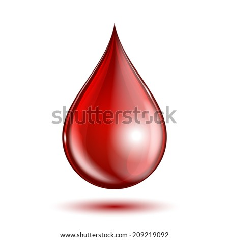 Blood drop isolated on white background. vector illustration