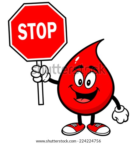 Blood Drop with Stop Sign - stock vector