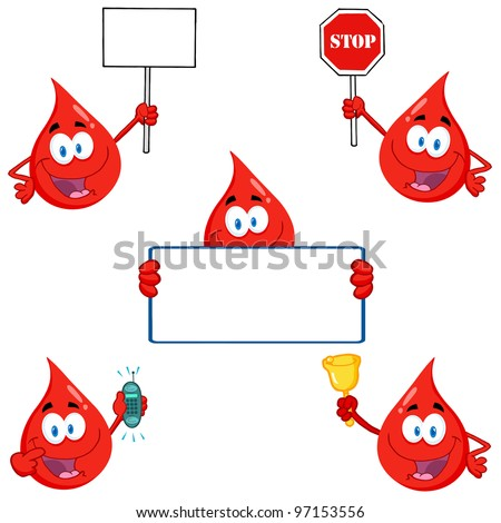 Blood Drops Cartoon Characters. Vector Collection.Raster version also available in gallery. - stock vector