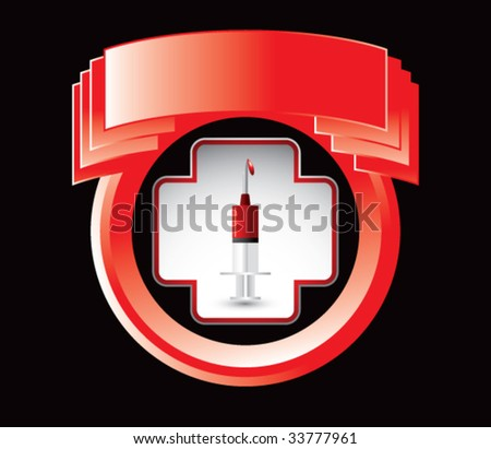 blood in syringe in first aid icon on crest shaped display - stock vector