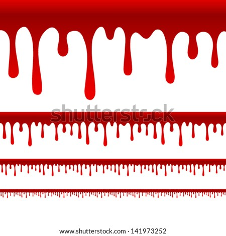 Blood or Paint Drips vector - wider versions for wider layouts - stock vector
