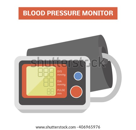 Blood pressure meter. Vector image of an electronic sphygmomanometer with a cuff placed around the upper arm - stock vector